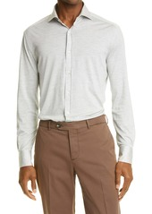 Brunello Cucinelli Slim Fit Jersey Button-Up Shirt