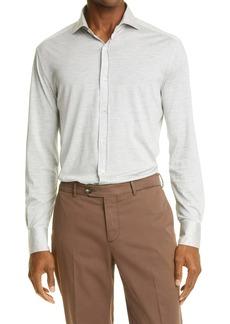 Brunello Cucinelli Slim Fit Jersey Button-Up Shirt