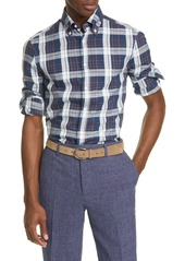 Brunello Cucinelli Slim Fit Madras Plaid Button-Down Shirt
