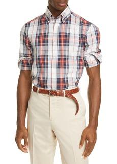 Brunello Cucinelli Slim Fit Madras Plaid Button-Down Shirt