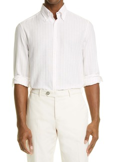 Brunello Cucinelli Slim Fit Stripe Button-Down Shirt
