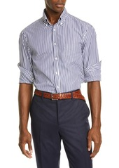 Brunello Cucinelli Slim Fit Stripe Button-Down Sport Shirt