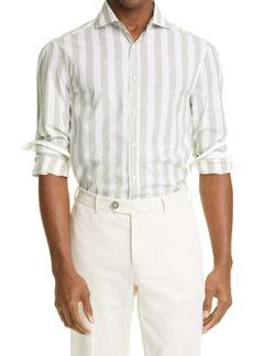 Brunello Cucinelli Slim Fit Stripe Button-Up Shirt
