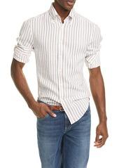Brunello Cucinelli Slim Fit Stripe Linen Button-Down Shirt