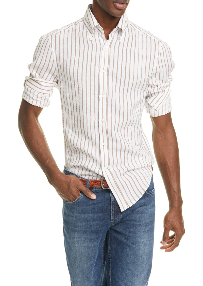 Brunello Cucinelli Slim Fit Stripe Linen Button-Down Shirt