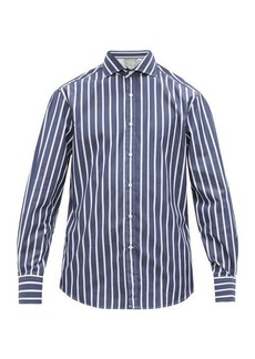 Brunello Cucinelli Slim-fit striped cotton-poplin shirt