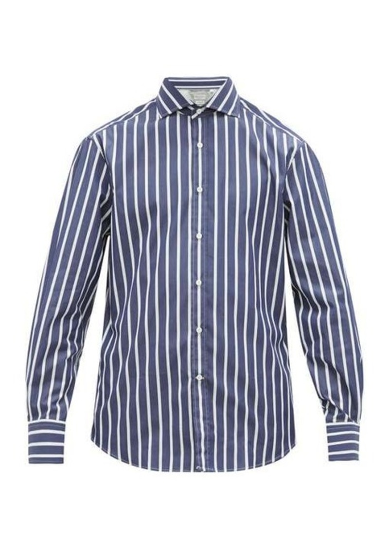 Brunello Cucinelli Slim-fit striped cotton-poplin shirt
