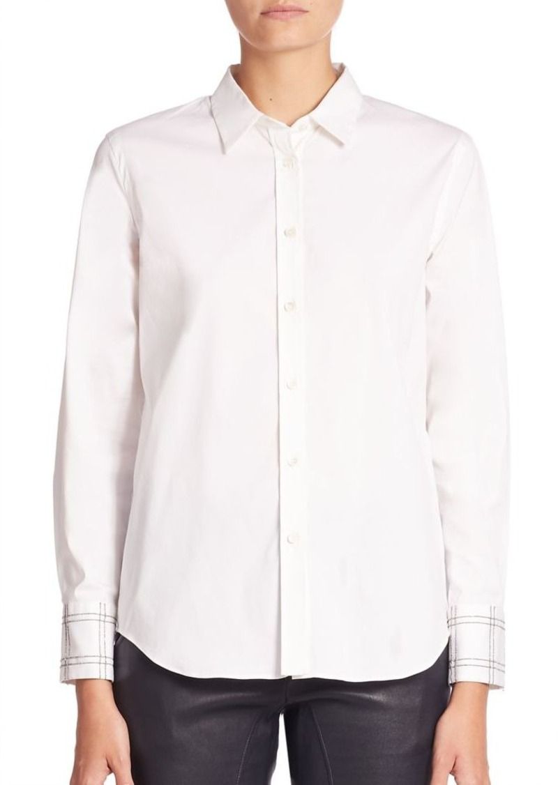Brunello Cucinelli Solid Cotton Blend Shirt