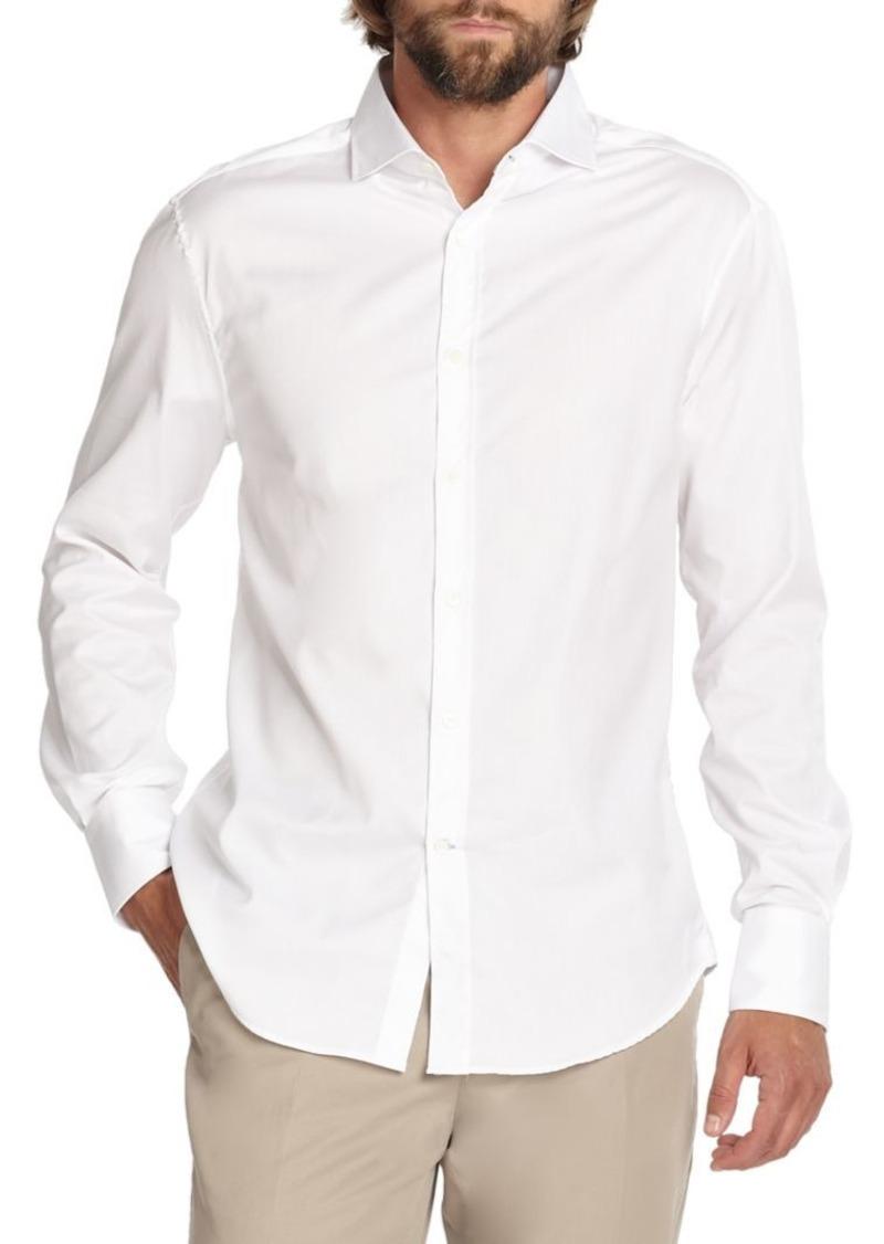 Brunello Cucinelli Solid White Button-Down Shirt