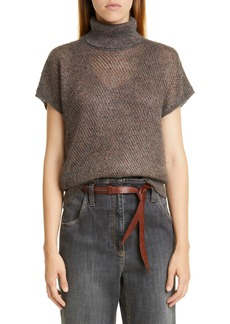 Brunello Cucinelli Sparkling Mesh Turtleneck Sweater