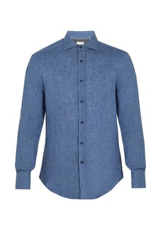Brunello Cucinelli Spread-collar linen shirt