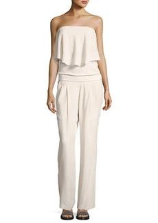 Brunello Cucinelli Strapless Popover Silk-Crepe Jumpsuit