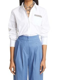 Brunello Cucinelli Stretch Cotton Poplin Button-Up with Monili Shirt