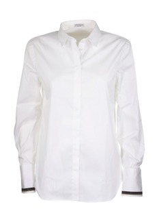 Brunello Cucinelli Stretch Cotton Poplin Shirt With Shiny Cuff Trim