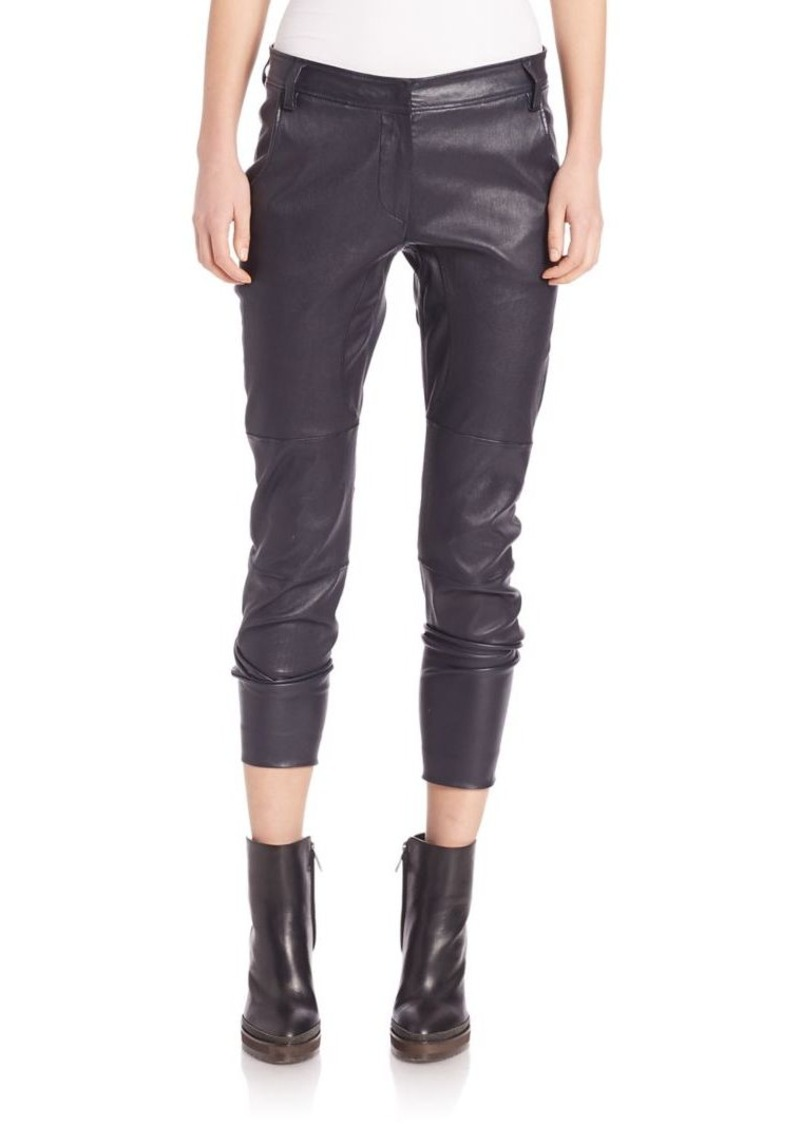 Brunello Cucinelli Stretch Leather Ankle Zip Pants