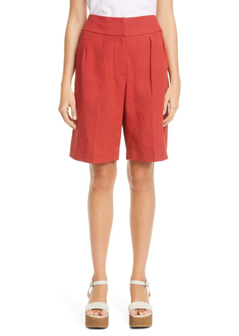Brunello Cucinelli Stretch Linen & Cotton Pleated Bermuda Shorts