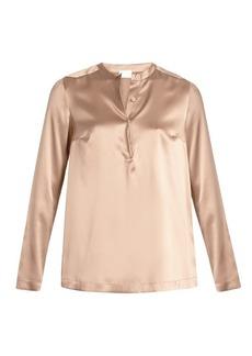 Brunello Cucinelli Stretch-silk beaded blouse