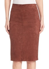 Brunello Cucinelli Stretch Suede Pencil Skirt
