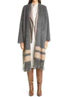 Brunello Cucinelli Stripe & Fringe Sweater Coat