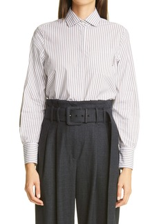 Brunello Cucinelli Stripe Button-Up Stretch Poplin Shirt