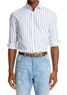 Brunello Cucinelli Stripe Classic Fit Button-Up Cotton Shirt