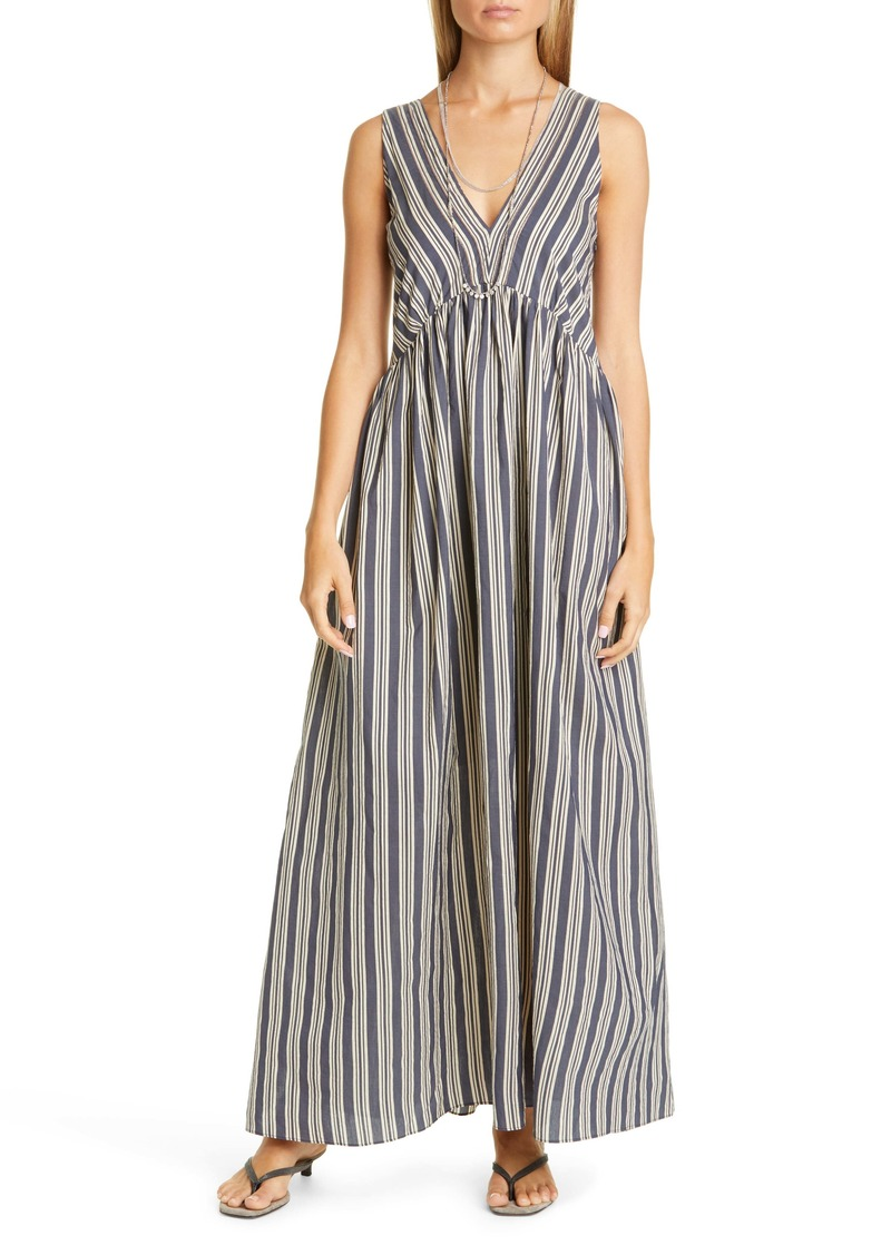 Brunello Cucinelli Stripe Cotton & Silk A-Line Maxi Dress