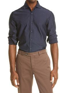 Brunello Cucinelli Stripe Cotton Button-Up Shirt
