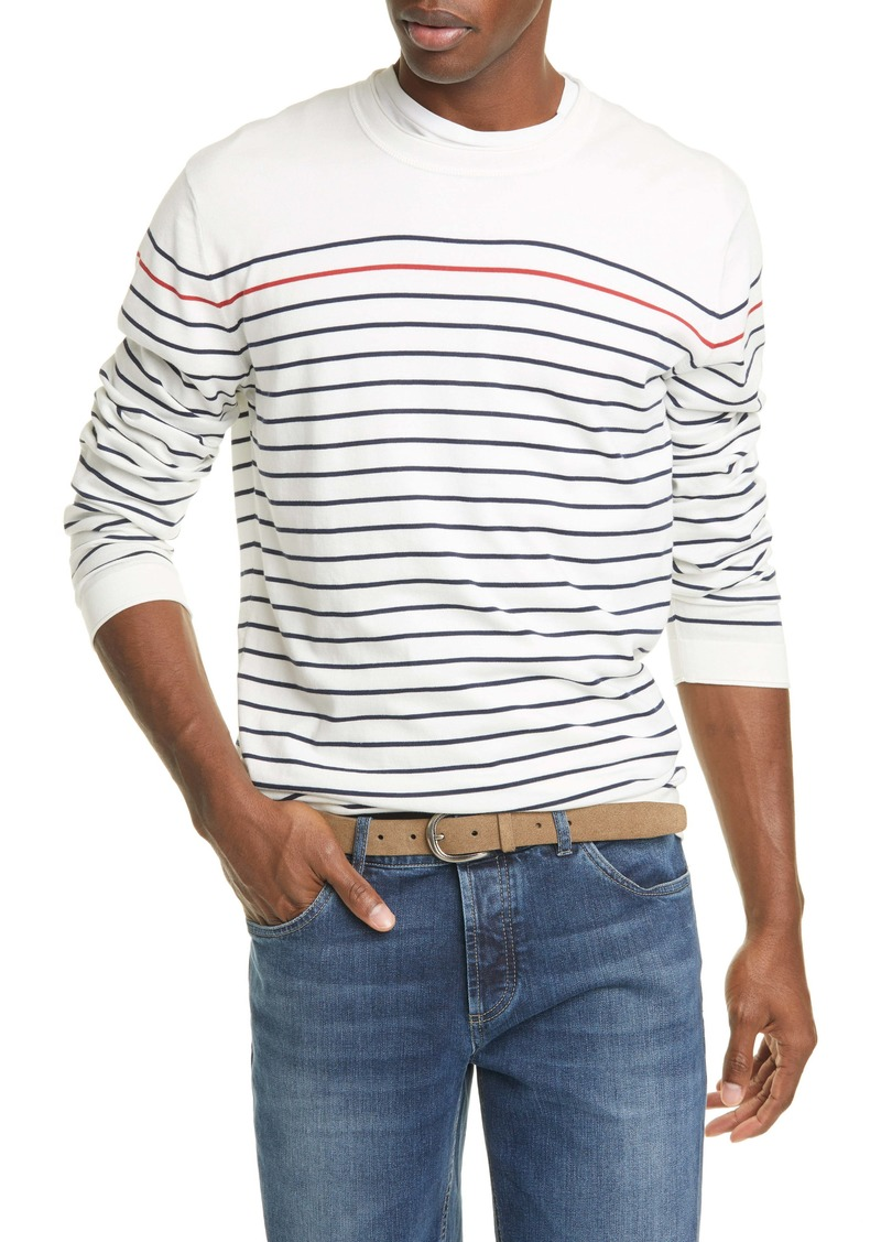 Brunello Cucinelli Stripe Cotton Crewneck Sweater
