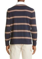 Brunello Cucinelli Stripe Cotton Long Sleeve Polo