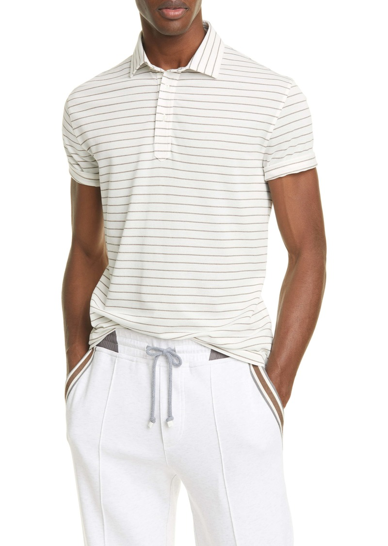 Brunello Cucinelli Stripe Cotton Polo Shirt