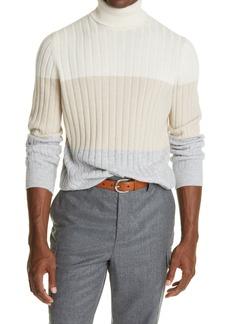 Brunello Cucinelli Stripe Rib Turtleneck Cashmere Sweater