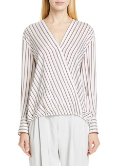 Brunello Cucinelli Stripe Silk Faux Wrap Blouse