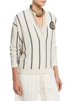 Brunello Cucinelli Striped Cashmere V-Neck Cardigan