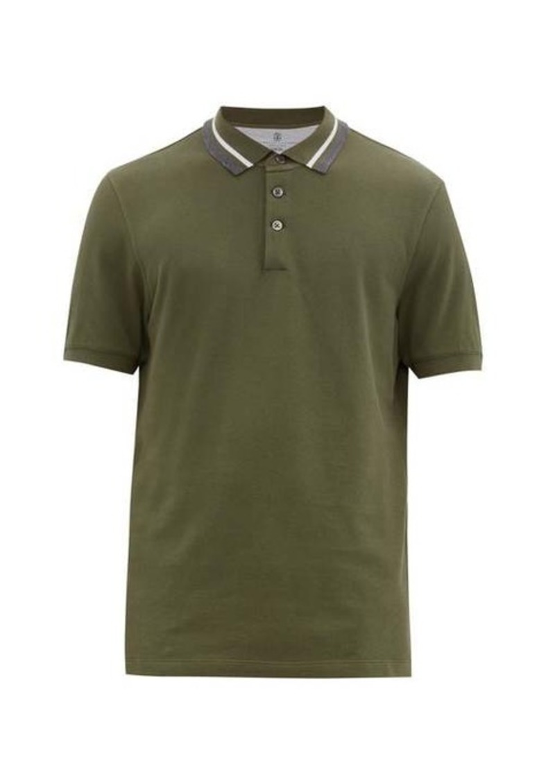 Brunello Cucinelli Striped-collar cotton-piqué polo shirt