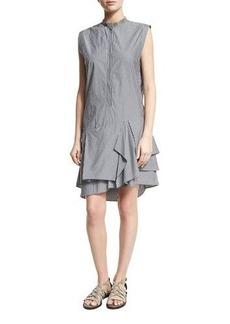Brunello Cucinelli Striped Monili-Collar Ruffle-Hem Dress