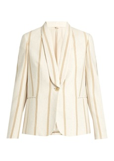 Brunello Cucinelli Striped single-breasted cotton-jersey jacket
