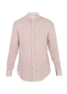 Brunello Cucinelli Striped spread-collar linen shirt
