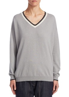 Brunello Cucinelli Striped Trim Cashmere Sweater