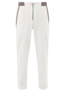 Brunello Cucinelli Striped-trim cotton-blend jersey track pants