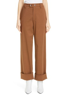 Brunello Cucinelli Tab Front Wide Leg Cuff Pants