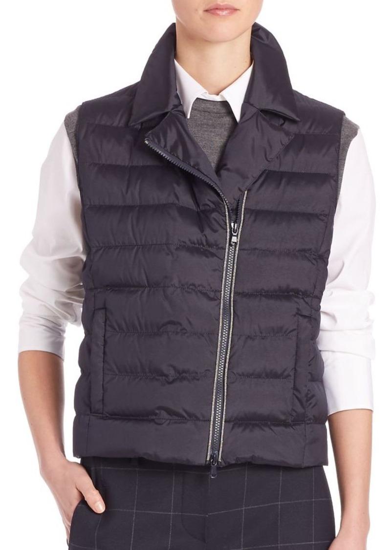 Brunello Cucinelli Technical Moto Silk Puffer Vest