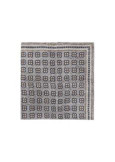 Brunello Cucinelli Tile-print linen-blend mesh pocket square
