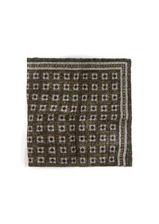 Brunello Cucinelli Tile-print linen-blend pocket square