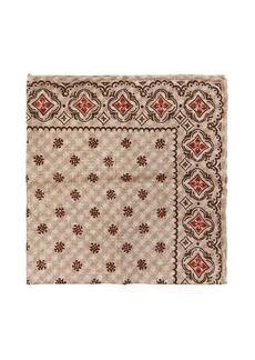 Brunello Cucinelli Tile-print silk-faille pocket square