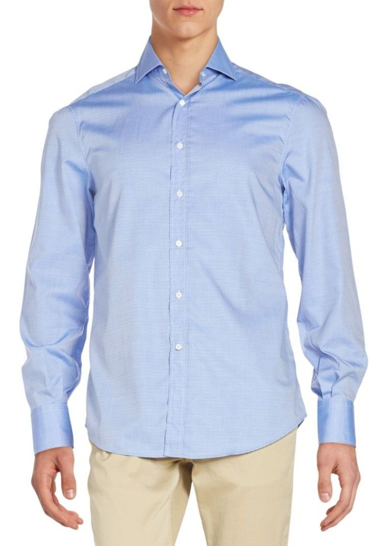 Brunello Cucinelli Tonal Pattern Cotton Sportshirt