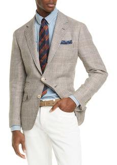 Brunello Cucinelli Trim Fit Houndstooth Plaid Linen Blend Sport Coat