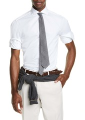 Brunello Cucinelli Trim Fit Solid Button-Up Sport Shirt