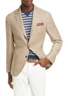 Brunello Cucinelli Trim Fit Solid Linen Blend Sport Coat