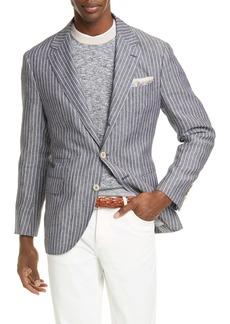 Brunello Cucinelli Trim Fit Stripe Linen Sport Coat