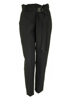 Brunello Cucinelli Tropical Luxury Wool Boy Fit Cigarette Trousers With Precious D-ring Belt